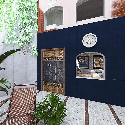 Syrian Courtyard House Interior Design Render