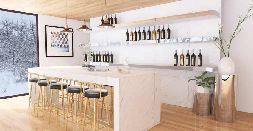 Bar and Dining area. Interior Design Render