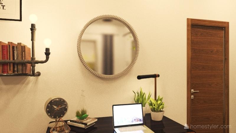 adult industrial rustic chic bedroom Interior Design Render