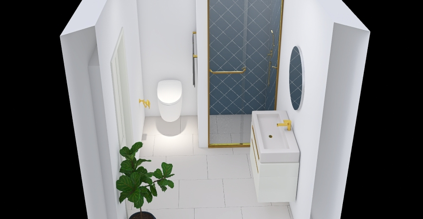 Øvre badeværelse Interior Design Render