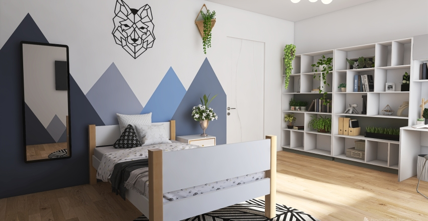 Teenage Girl Bedroom Interior Design Render