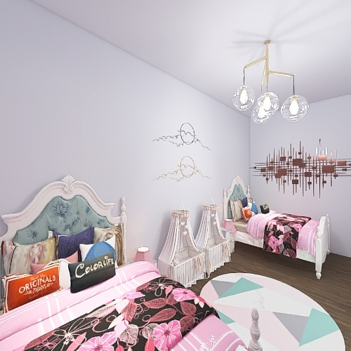 Bedroom for 4 girls Interior Design Render