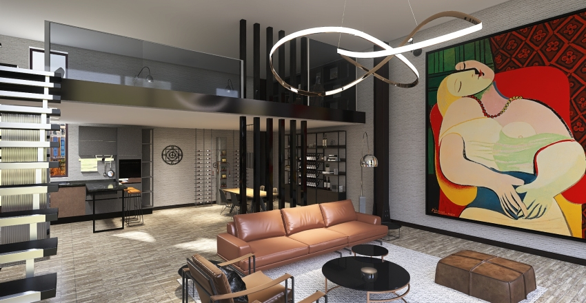Industrial loft in New York Interior Design Render