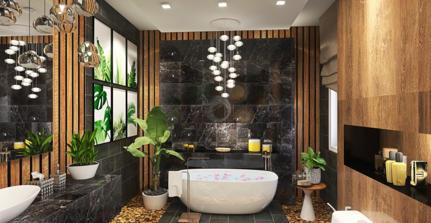 Tropical Inspired Bathroom Design Interior Design Render