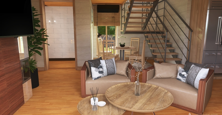 #HSDA2020Residential  Wooden House Far Away Interior Design Render