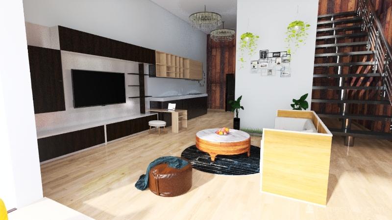 one person tenement house Interior Design Render