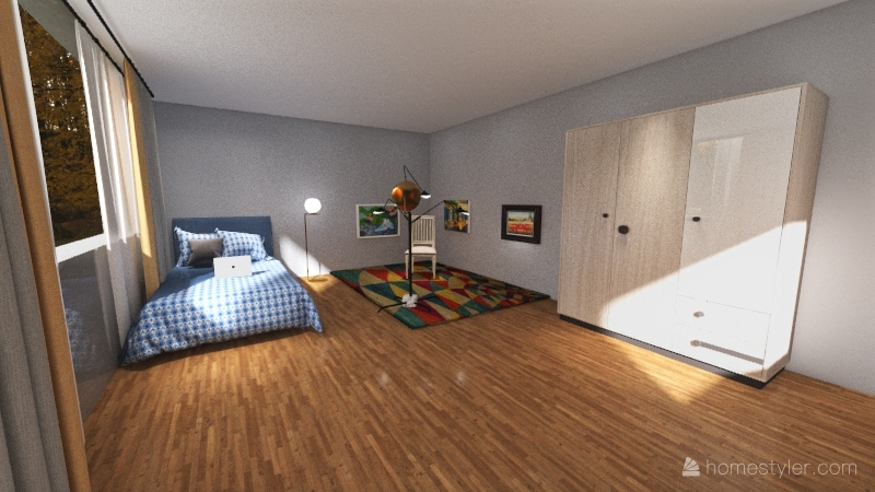 Habitación con Set up de grabación. Interior Design Render