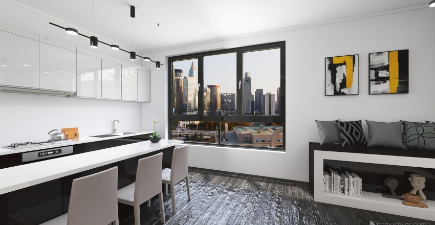 Black&White Minimalism Interior Design Render