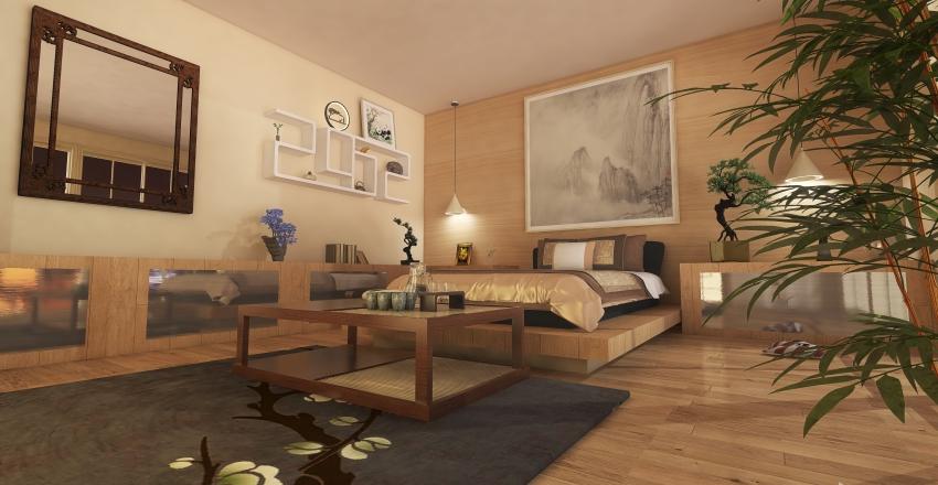 Japanese Bedroom Interior Design Render