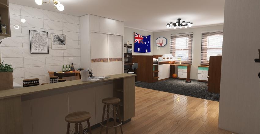 Student Dorm Interior Design Render