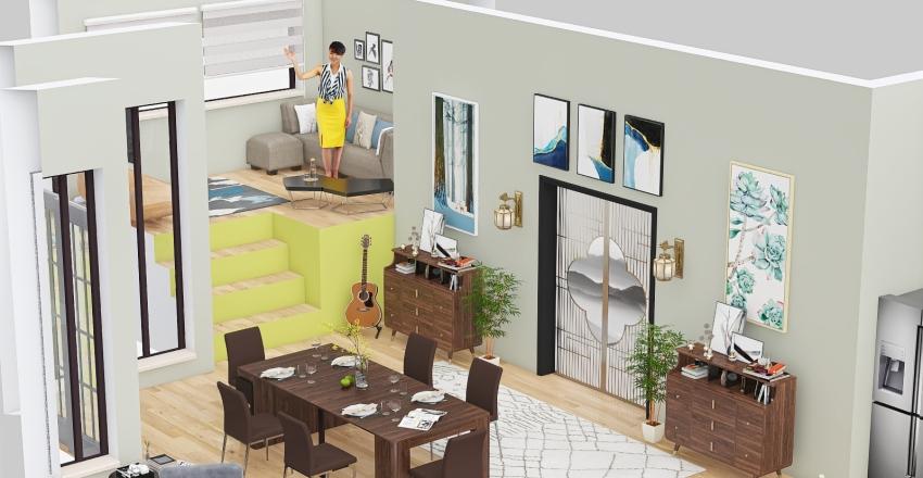 Open plan living space Interior Design Render