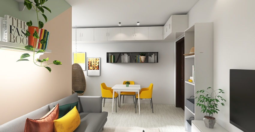Tiny living area for young couple Interior Design Render