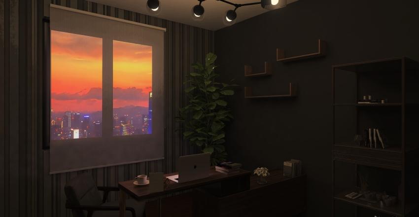 Living room + Kitchen Interior Design Render