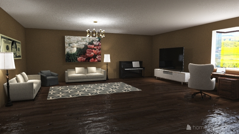 Apartment project (1 Bed and 1 Bath) Interior Design Render
