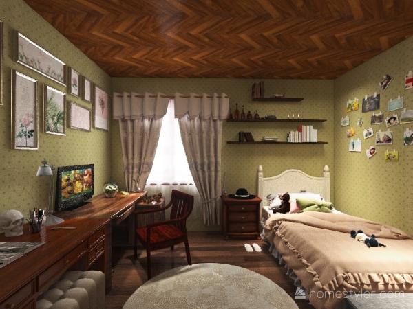 modern witch cottagecore bedroom Interior Design Render
