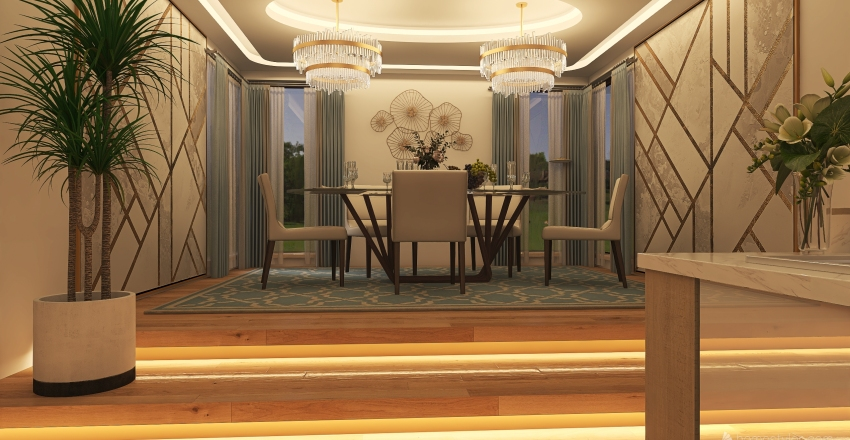 Family Home Kitchen & Dining Area Interior Design Render