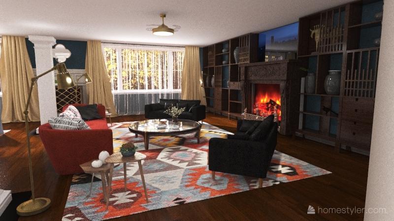 bold living room Interior Design Render