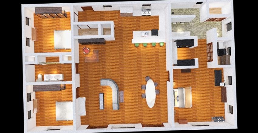 Custom Log Home Interior Design Render