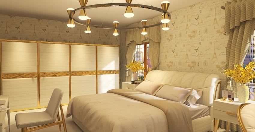 White & Gold Home Interior Design Render