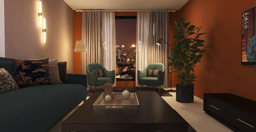 orange living room  Interior Design Render
