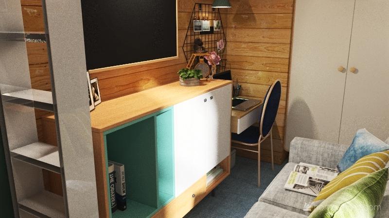 20 SQM first floor small chic apartment Interior Design Render