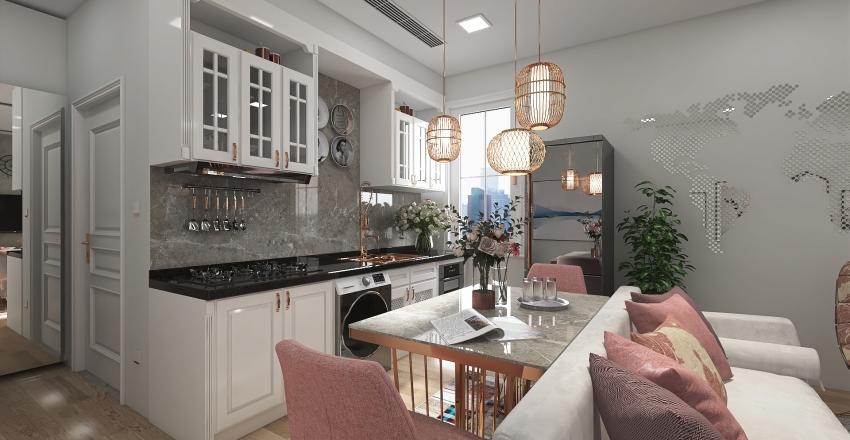 Luxury-Feminine Inspired Studio Unit Interior Design Render