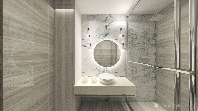 restroom and guest bedroom with bathroom Interior Design Render