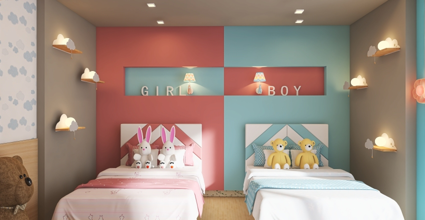 quarto menino menina Interior Design Render
