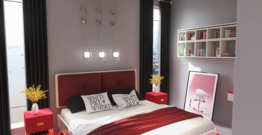 Red One Bedroom Apartment Interior Design Render