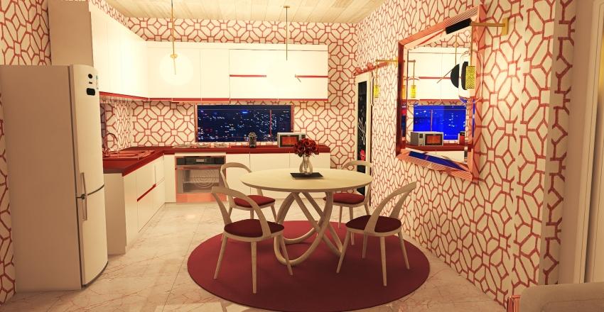 Red One Bedroom Apartment Interior Design Render