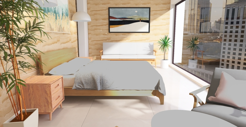 Hotel Room 40 m2 Interior Design Render