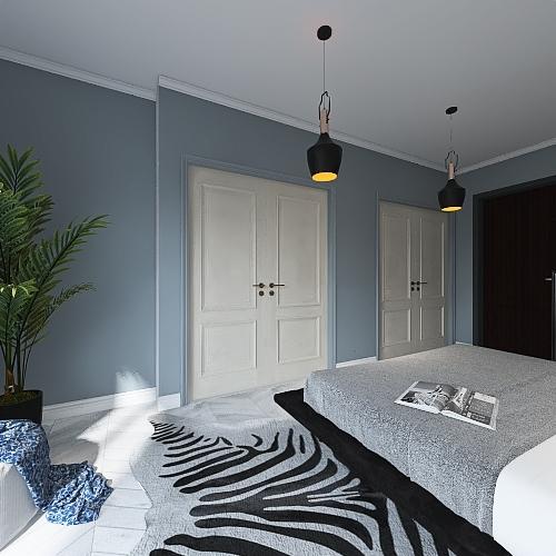 Black white Interior Design Render