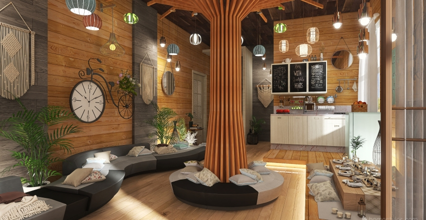 """Picnic at Home"" Bohemian Studio Unit Interior Design Render"