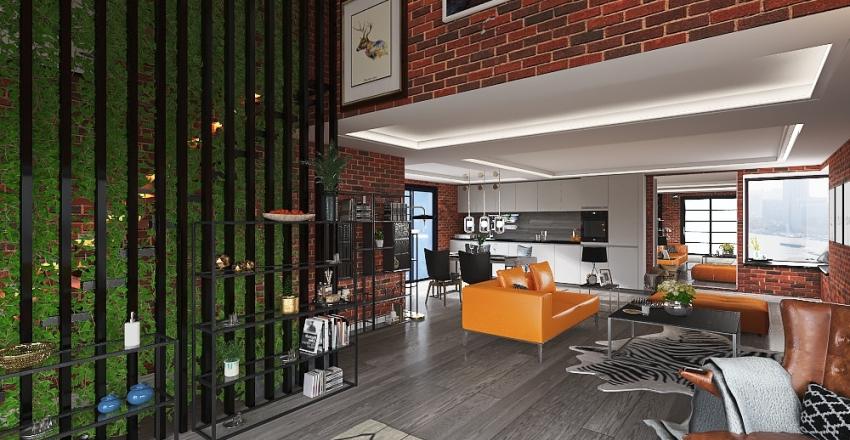 Loft house Interior Design Render