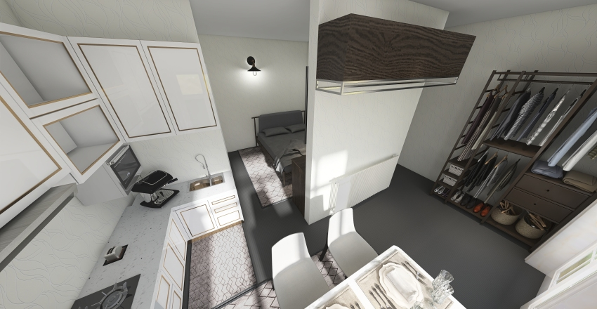one bedroom Interior Design Render