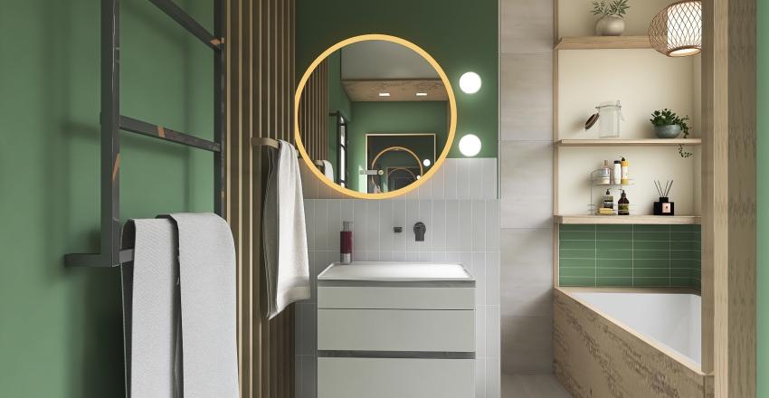 Green Family Bathroom Interior Design Render