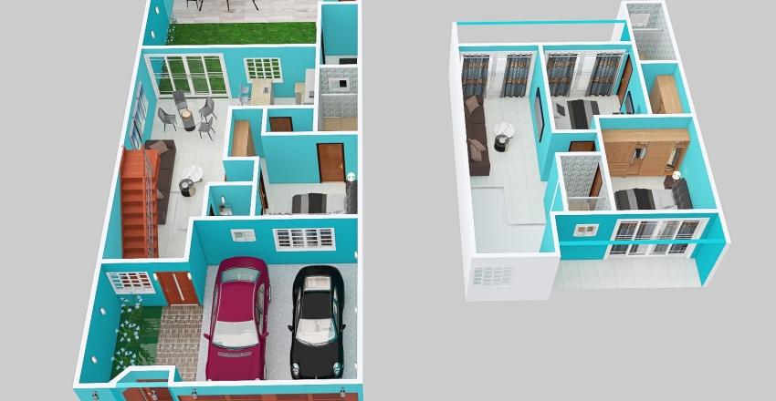casa 8x20 2 niveles Interior Design Render