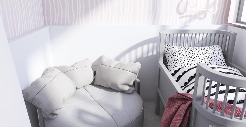 Baby Girl's Nursery Above Town Interior Design Render