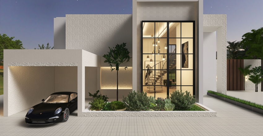 Villa Exterior Interior Design Render