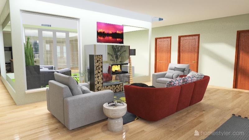 Courtyard House Interior Design Render