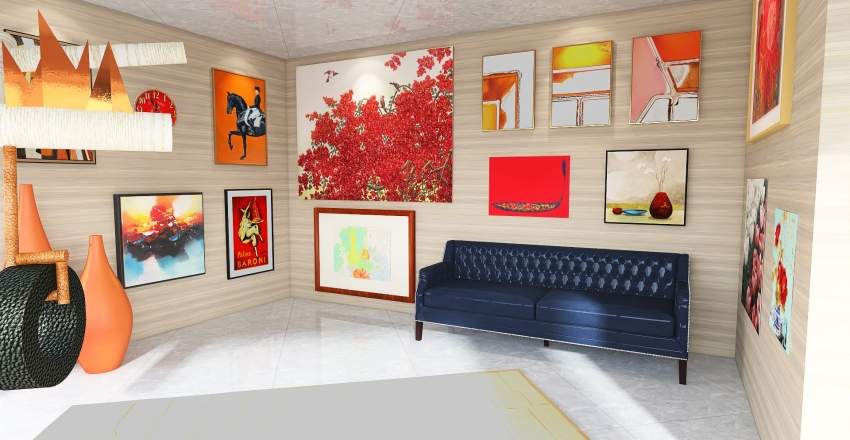 Second Floor Art Gallery Interior Design Render