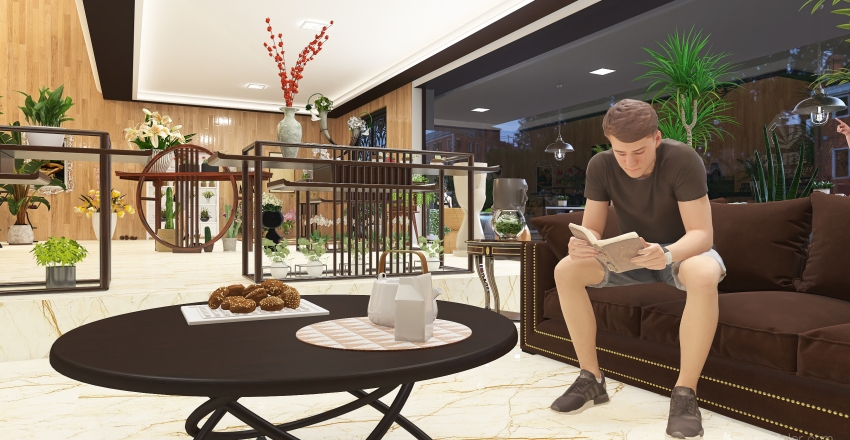#HSDA2020Commercial Alameda Flower & Coffee Shop Interior Design Render