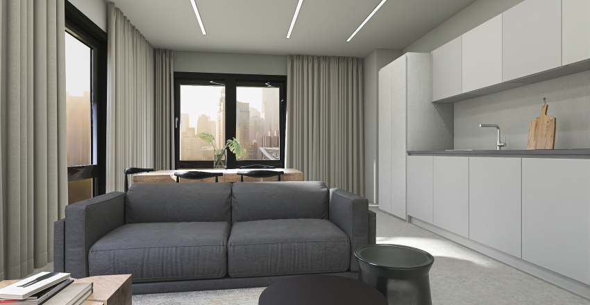 Minimalist apartment Interior Design Render