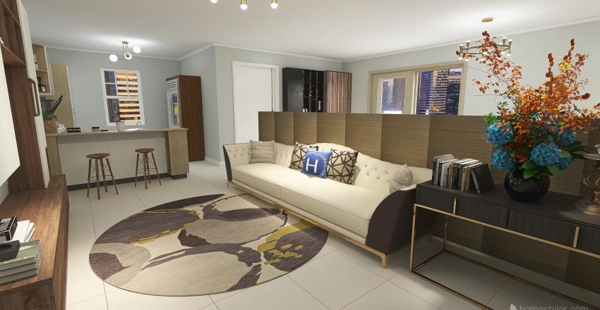 Flat aconchegante Interior Design Render