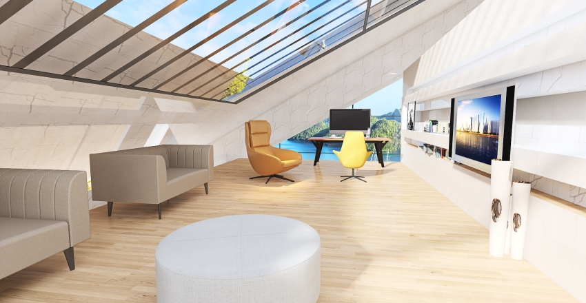 Modern cottage Interior Design Render