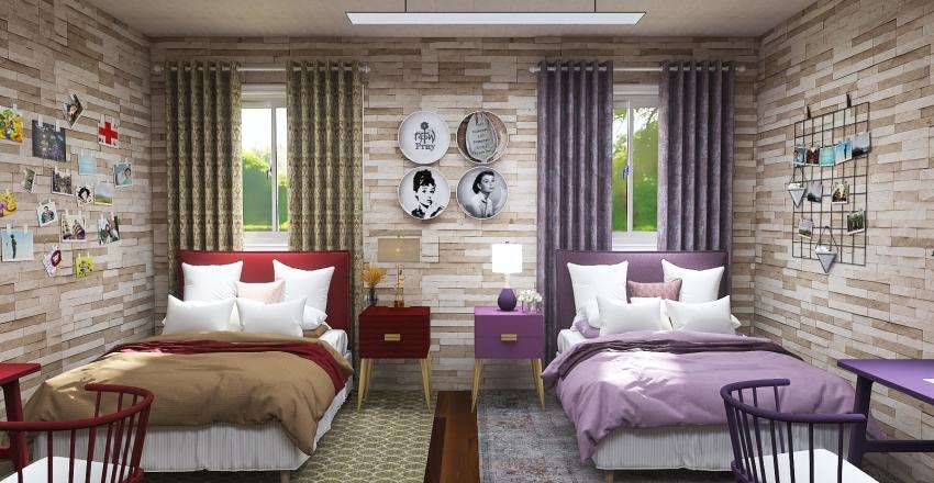 College Bedroom Interior Design Render