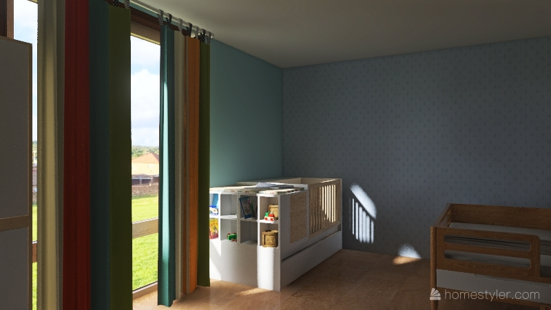 nature house with 6 kids Interior Design Render