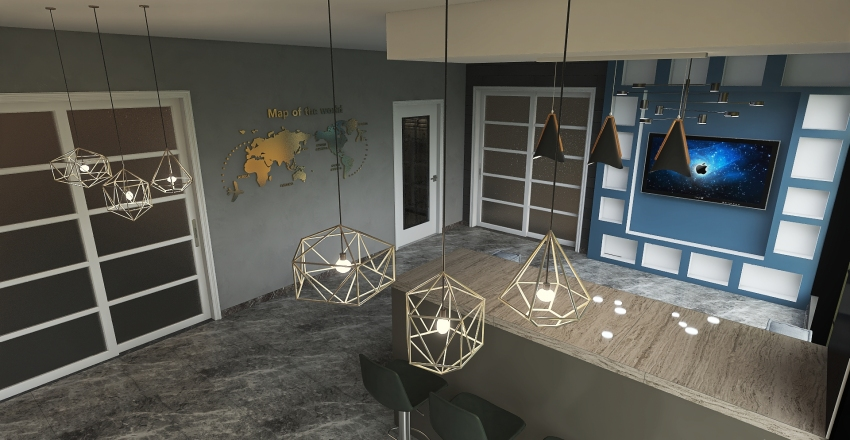 Simple modern house Interior Design Render