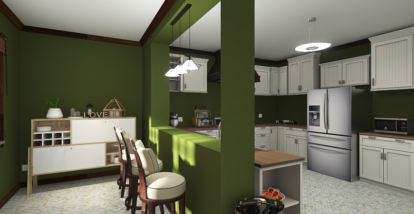 Kitchen / Dining Room Interior Design Render