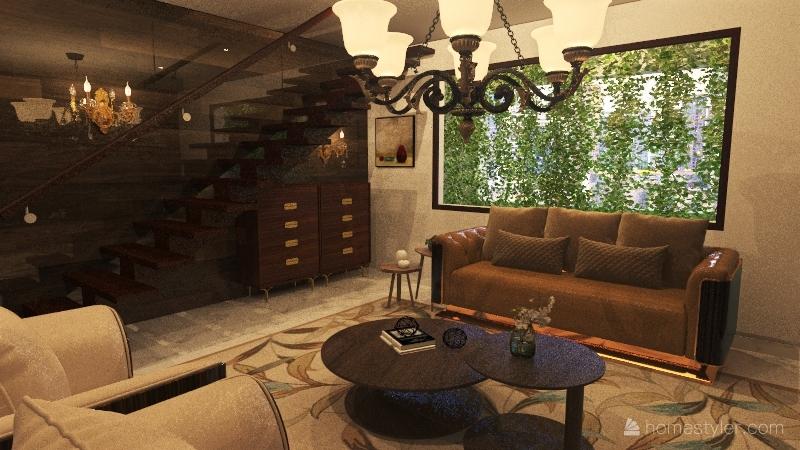 Brown Wood Interior Design Render